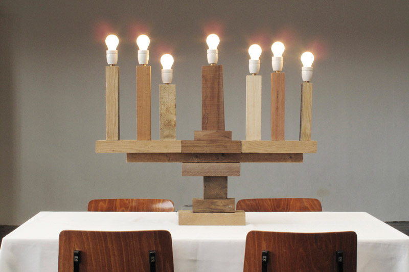 Electric Wood Menorah Lamp by Studio Pepe Haykoop