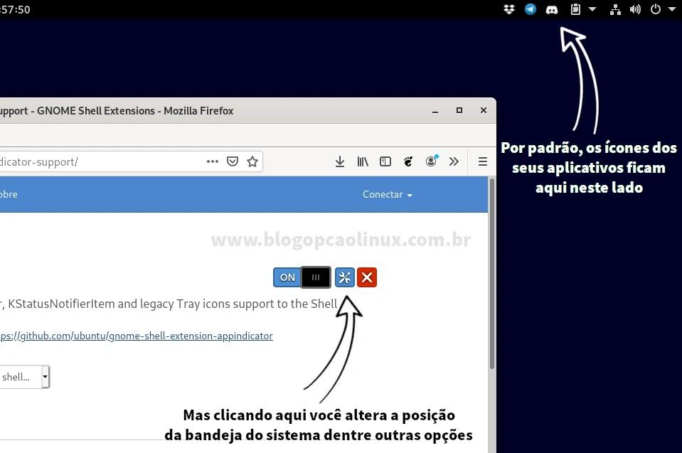 Ícones da bandeja do sistema habilitados no GNOME Shell