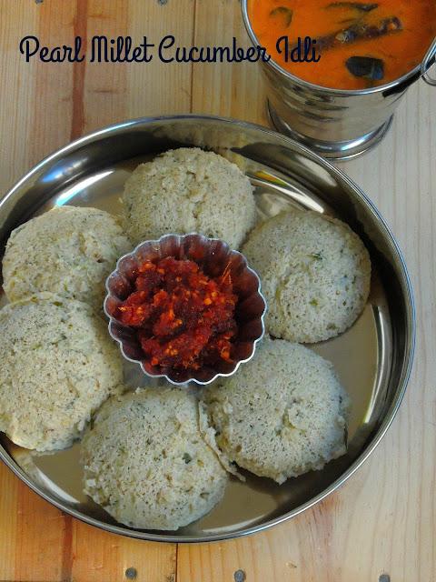 Kambu Vellarikaai Idli,Pearl Millet Cucumber Steamed Cake