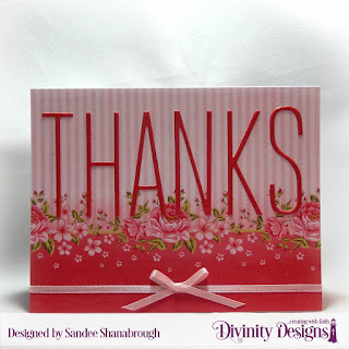 Divinity Designs Custom Dies: Long & Lean Letters, Paper Collection: Pretty Pink Peonies