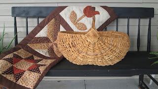 Splint Melon Basket, Grapevine Handle with God's Eyes