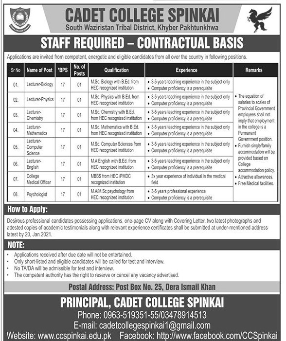 Cadet College Jobs 2021 Government Colleges in Pakistan 2021 - South Waziristan Latest Jobs 2021