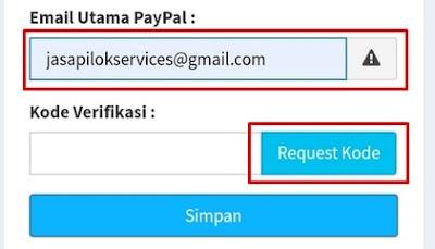 Email Utama Akun Paypal