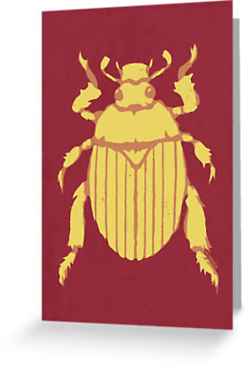 Christmas beetle flying stencil art