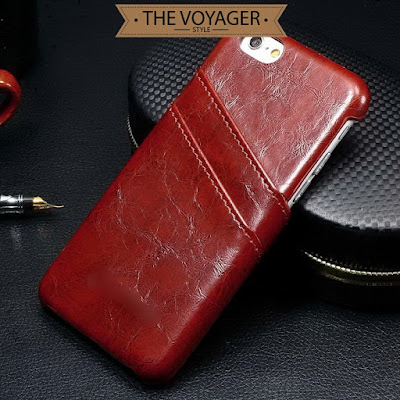 casing hp kulit iphone 7 leather case back cover with card slot asli vintage premium original