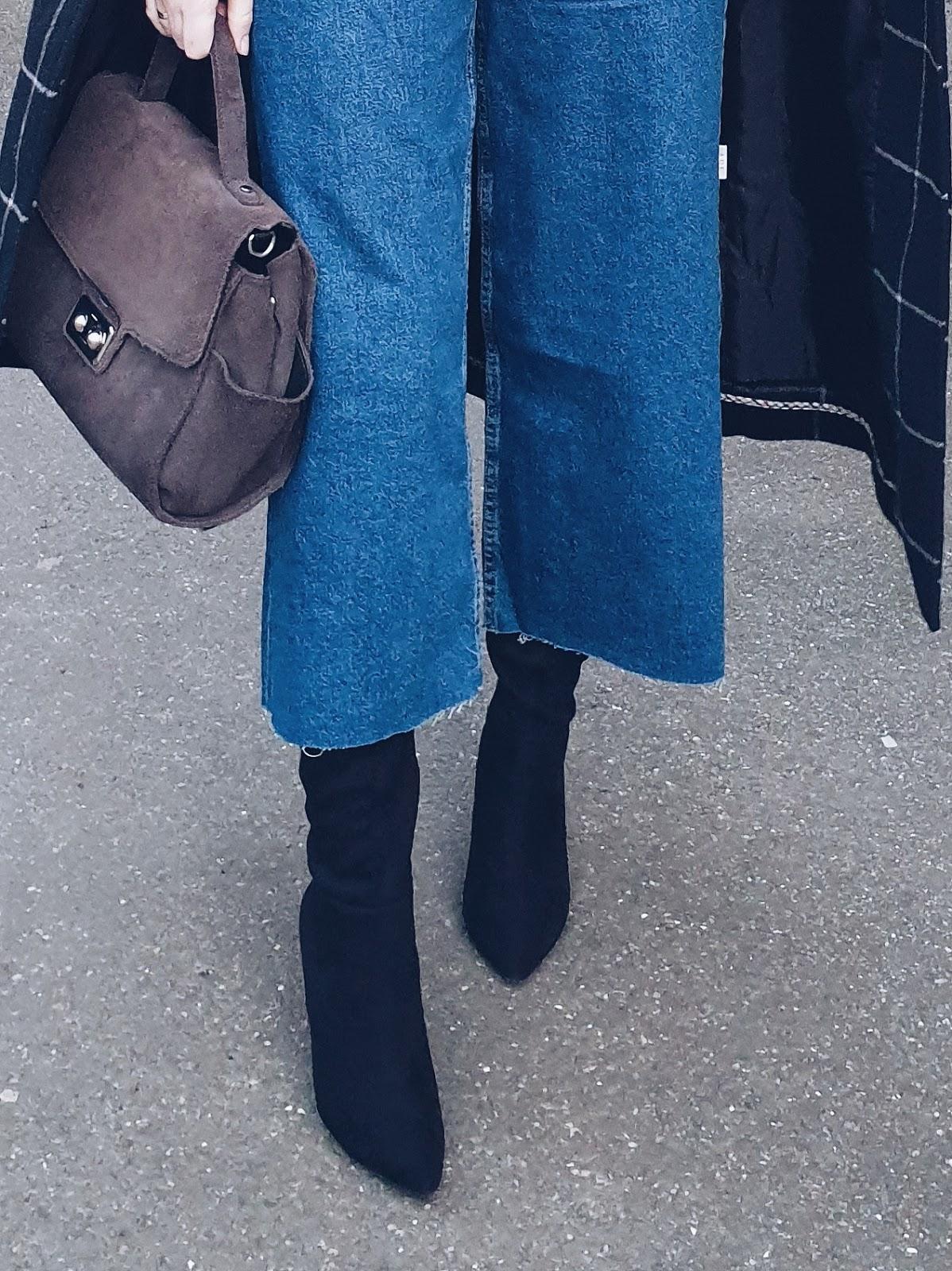 Denim culottes & maxi coat czyli jeansowe kuloty i fiolet