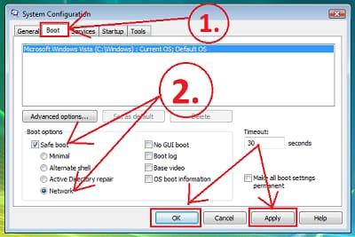 Window Vista System configuration boot option