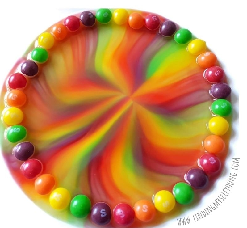 skittles rainbow from above