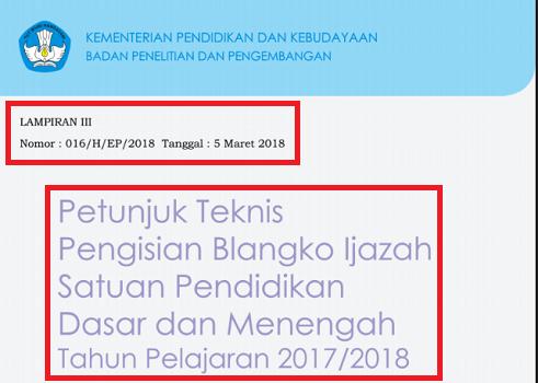 Juknis Penulisan Ijazah 2018 SD SMP SMA SMK SPK SDLB SMPLB ...