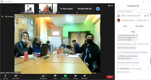 Zoom Training invitation for Rice Watch Action Network (RWAN) or the 3-day Buguias CIS Training staff
