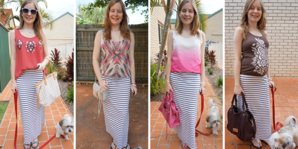 stripe maxi skirt 4 ways printed embellished tanks | awayfromblue