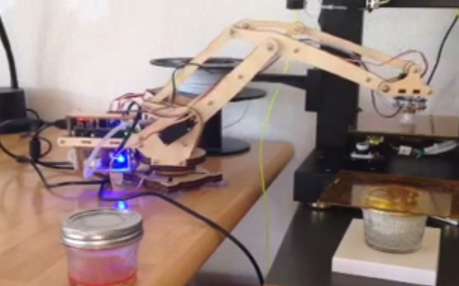 HOME MANUFACTURING CELL WITH DIY ROBOTIC ARM AND 3D PRINTER