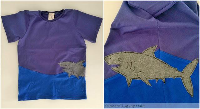 Tshirt aus Jersey für Kinder mit Hai Applikation