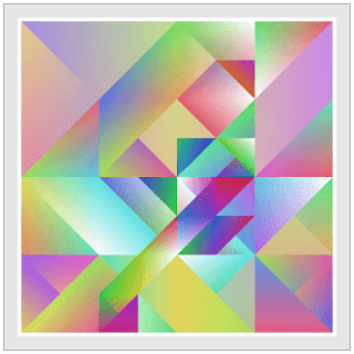 This creative coding example draws beautiful colored triangle shapes with random walking.