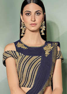 Blue Pre-Stitched Saree With Sequined Blouse indian party wear front design