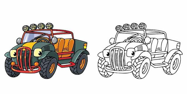 Kumpulan Gambar Mewarnai Anak PAUD TK dan SD Gambar Mobil Dengan Contohnya