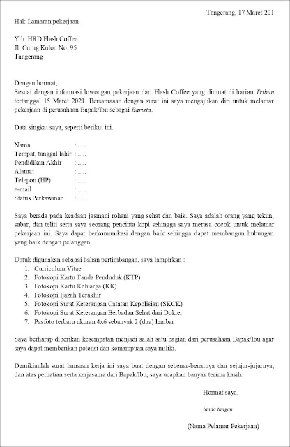 Contoh Surat Lamaran Pekerjaan Untuk Barista (Fresh Graduate) Berdasarkan Informasi Dari Media Cetak