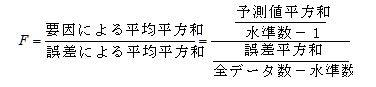 F分布によって分散分析の結果を判断します