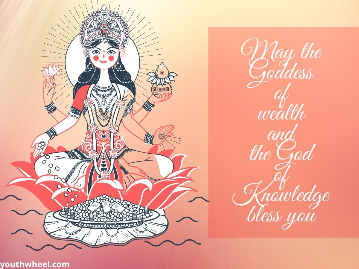 Beautiful Godess Laxmi Pic with quotes for Diwali