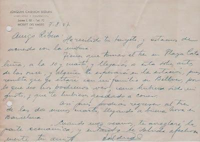 Carta de Joaquim Calduch i Segura en 1947