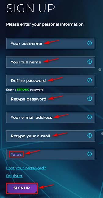 Регистрация в BiTinex 2