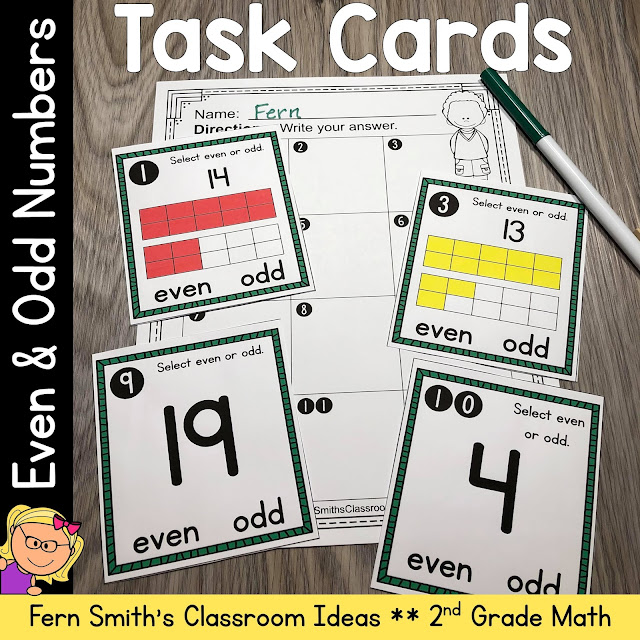 2nd Grade Go Math 1.1 Even and Odd Numbers Task Cards