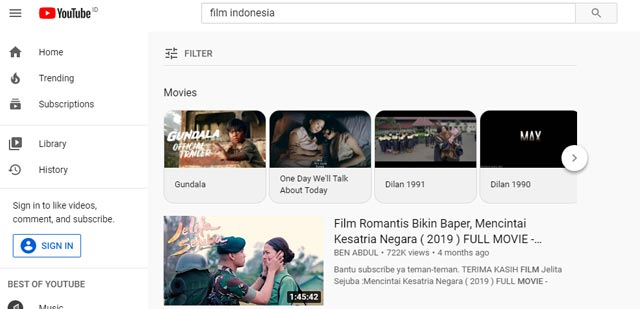 YouTube Situs Streaming Film Indonesia