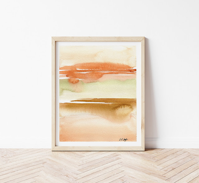 Orange Abstract Watercolor Landscape Painting by Elise Engh