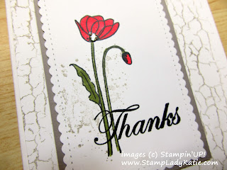 Thank-you card made with 3 Stampin'UP!'s sets: Crackle Paint, Painted Poppies and the sentiment from Peaceful Moments