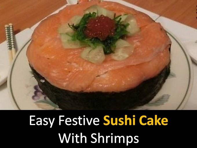 Easy Festive Sushi Cake with Shrimps