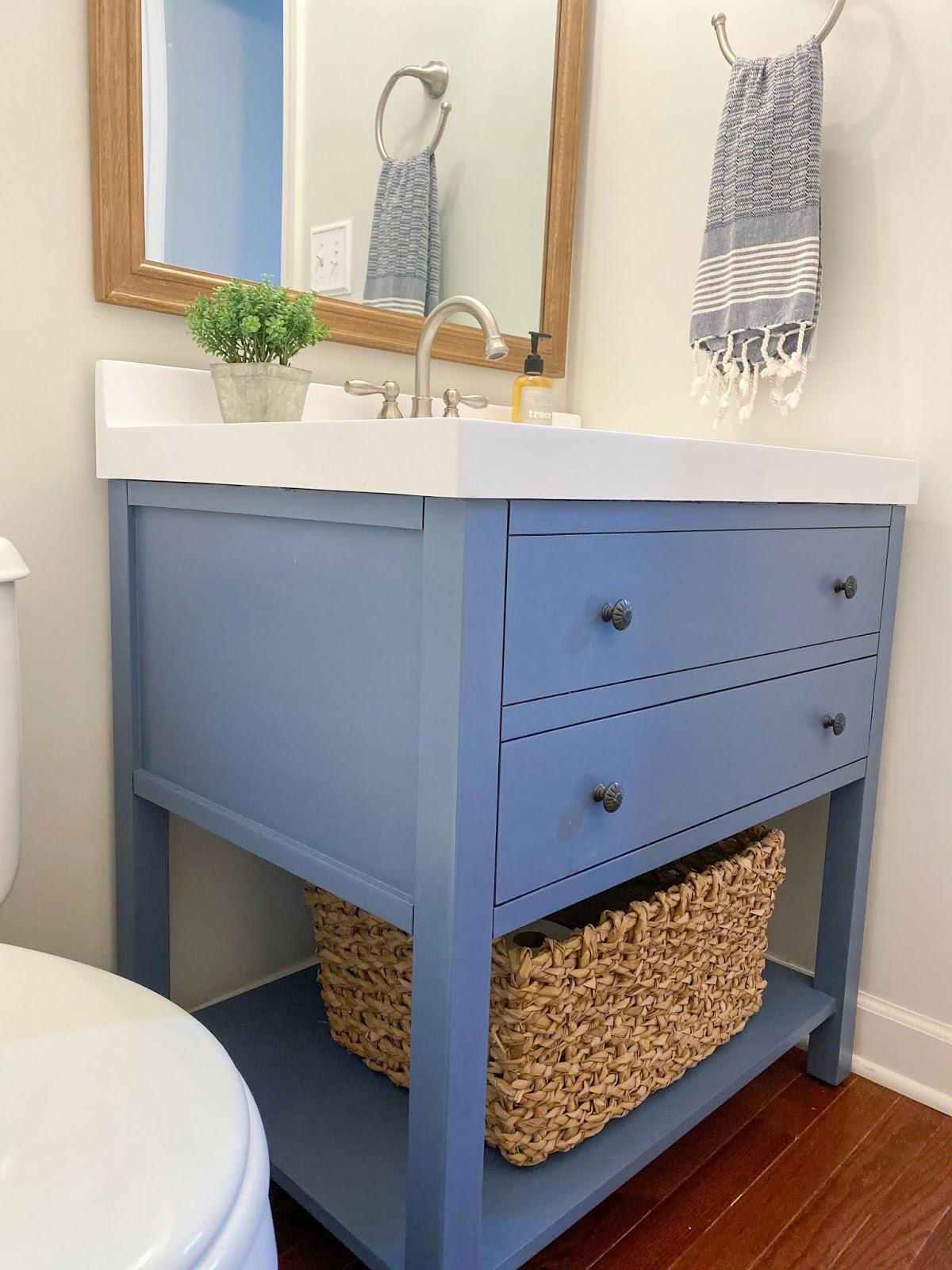 painting your bathroom vanity blue