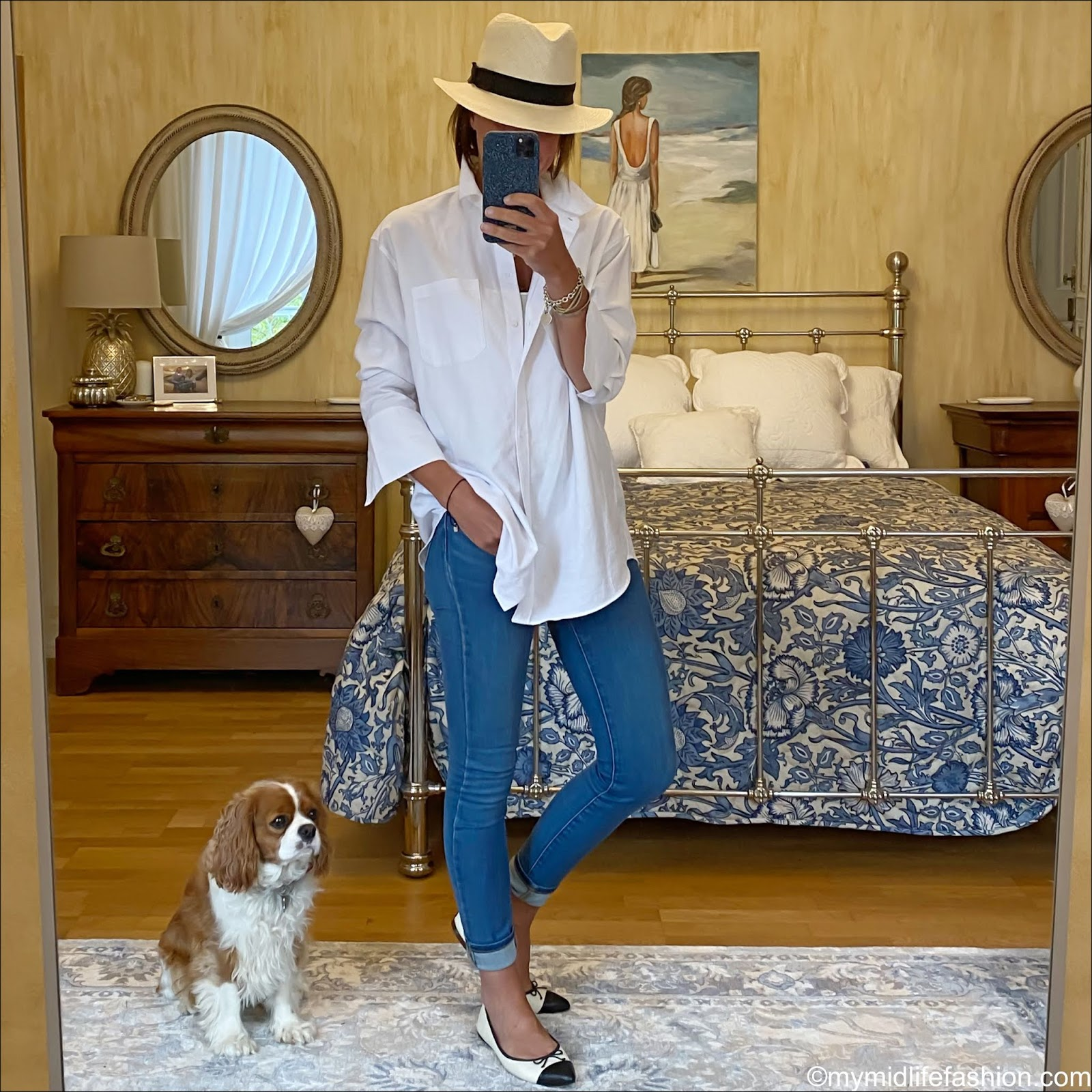 my midlife fashion, h and m Panama hat, and other stories oversized shirt, white stuff skinny jeans, j crew two toe pointed ballet flats