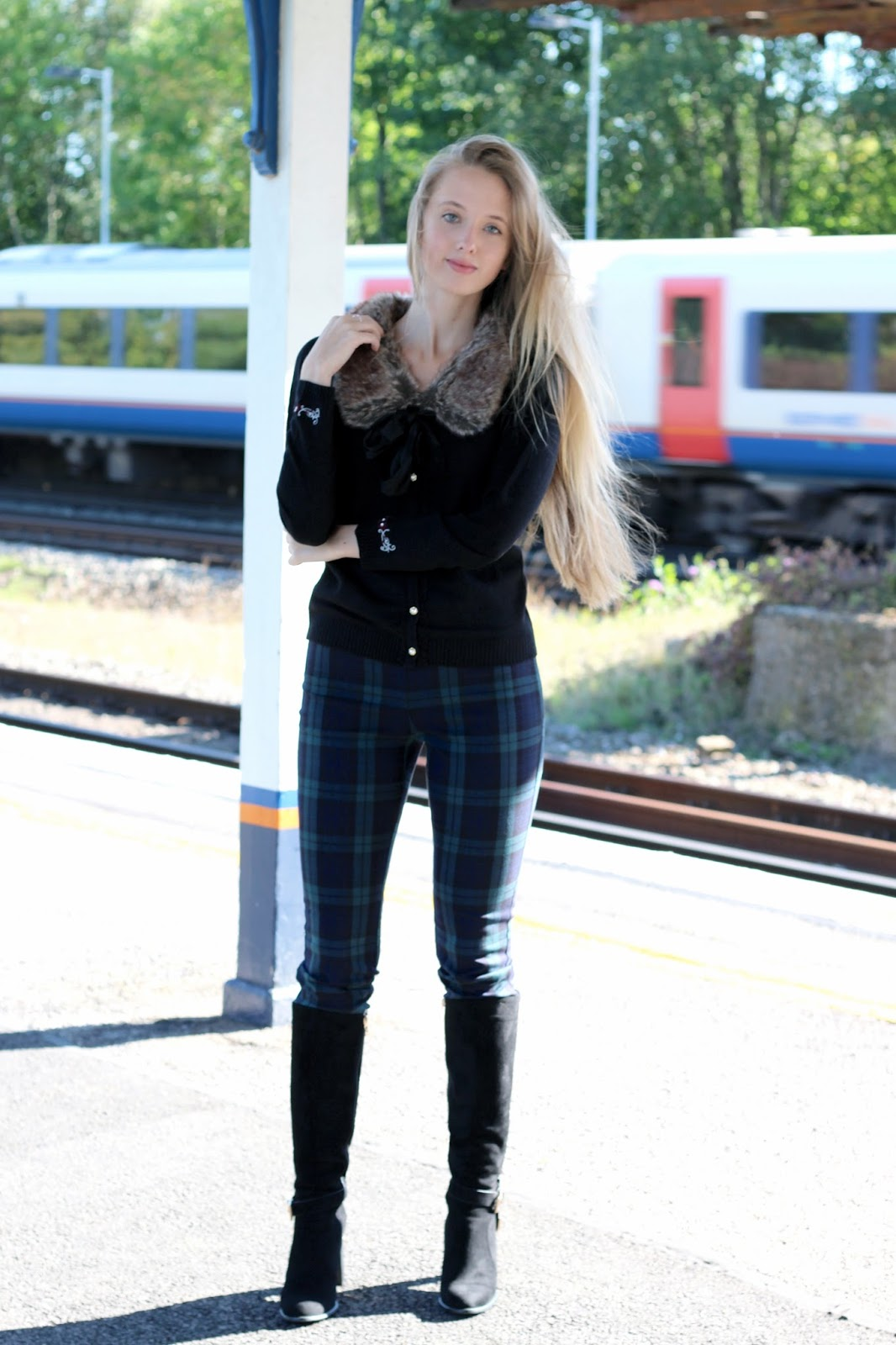Fashion blogger styling fur collared cardigan