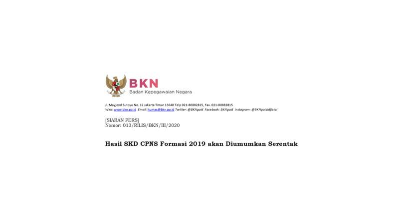 Pengumuman Hasil SKD CPNS Formasi 2019 akan Diumumkan Serentak