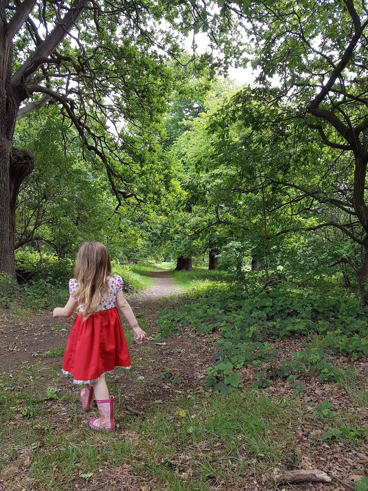 girl walking in the forest at epping forest