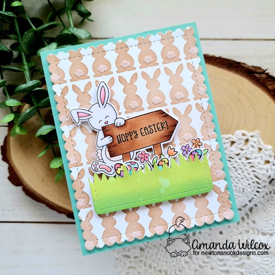 Spring Bunny Card by Amanda Wilcox | Bunny Tails Stencil Set and Hoppy Greetings Stamp Set by Newton's Nook Designs #newtonsnook #handmade