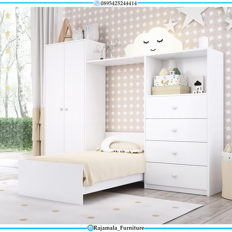 Model Tempat Tidur Anak Minimalis Simple Putih Duco Terbaru RM-0090