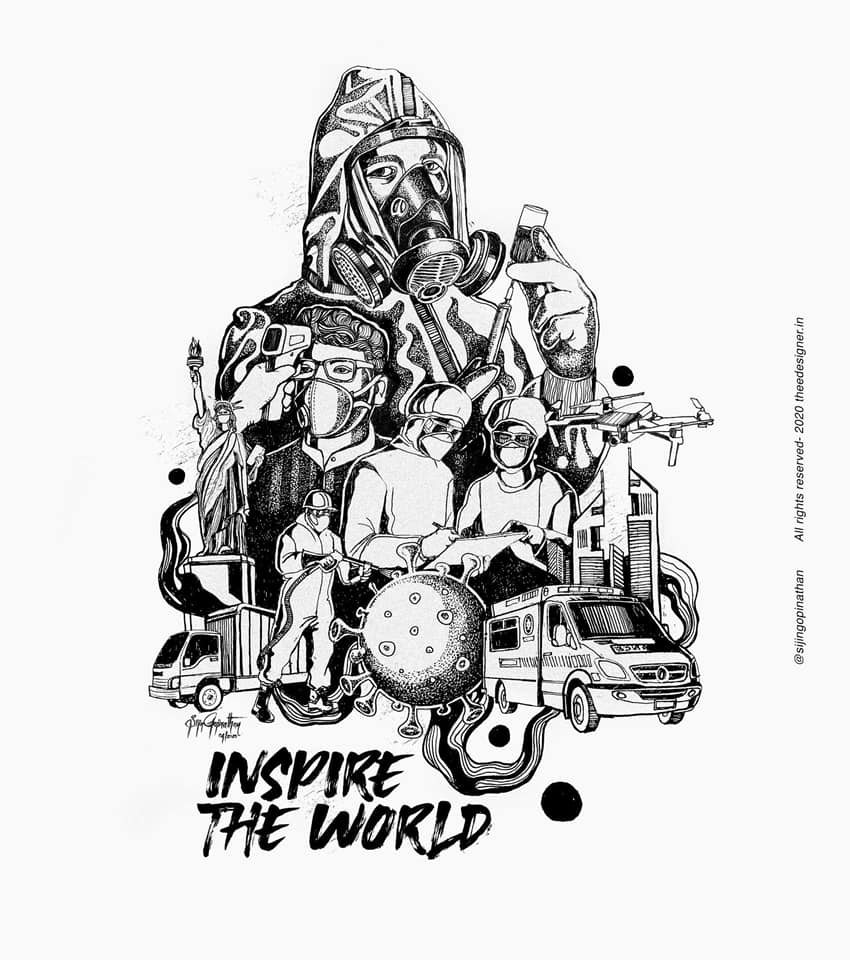 inspire the world - doodle art