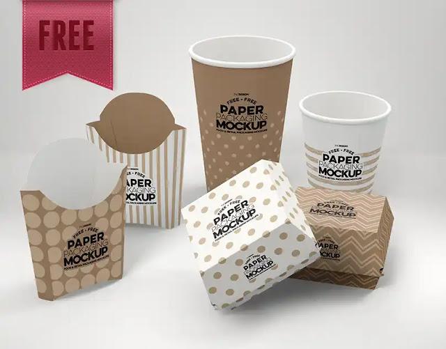 Plantilla de empaques de cartón de comida rápida para colocar mi propia marca en Photoshop