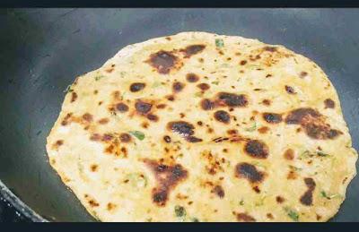 Roasting Methi paratha till light brown on pan or tawa for Methi paratha recipe