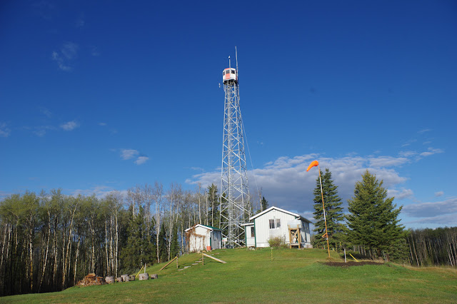 The lookout tower where writer Trina Moyles observes for wildfires. The Writer's Pet on Lookout.