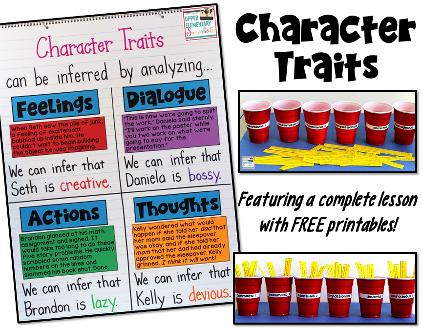 Teach character traits with this character traits anchor chart and FREE activity! Ideal lesson for the upper elementary classroom.