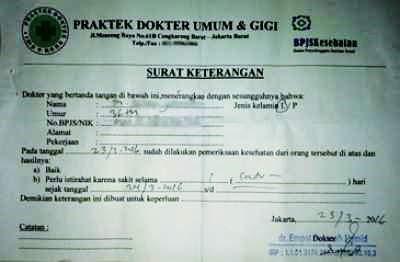 surat keterangan sakit dari dokter umum