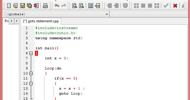 Goto Label In Dev C++