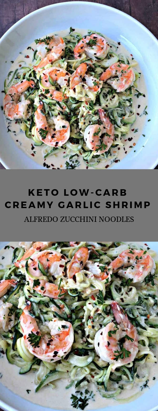 Keto Low-Carb Creamy Garlic Shrimp Alfredo Zucchini Noodles #dinner #keto #lowcarb #shrimp #lunch