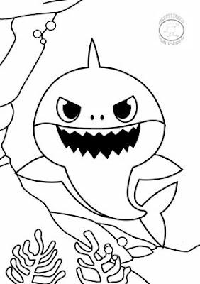 colorear papa shark