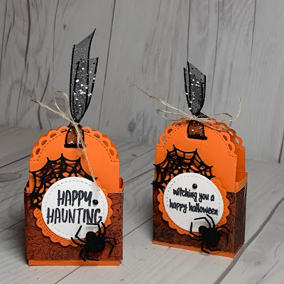 Orange and black Halloween Treat Boxes with Glittered Organdy Ribbon