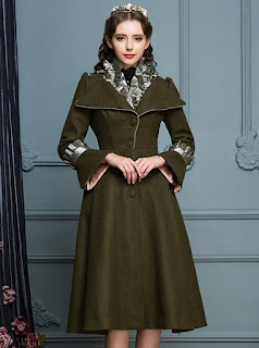 Ruffle V Collar Classic Lolita Army Green Coat