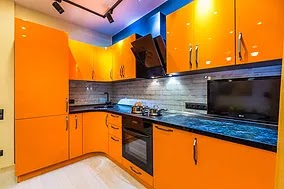 A Glass Kitchen Backsplash With White Bricks Picture