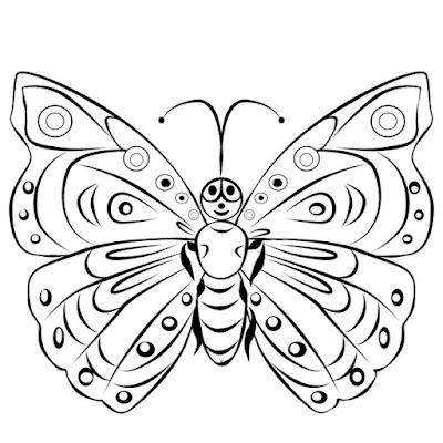 Gambar kupu kupu kartun hitam putih